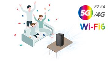 home 5G ホームルーター最大65台同時接続!